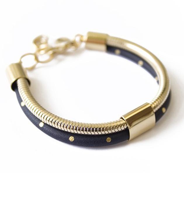 Необычный двойной браслет из кожи и металла Elton marine от Chic Alors-Paris
