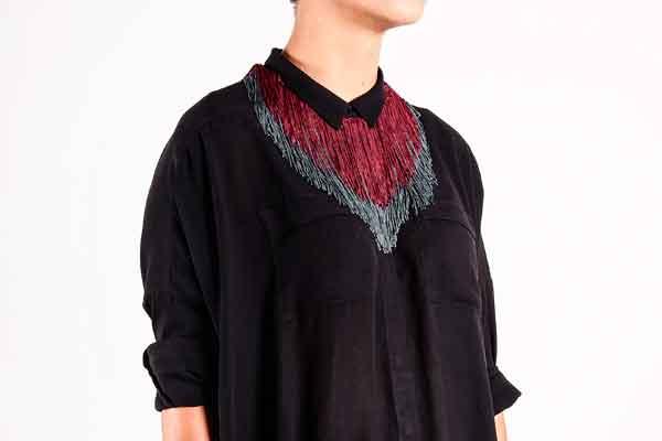 купить текстильное колье-ожерелье фото картинки серого бордового цвета
