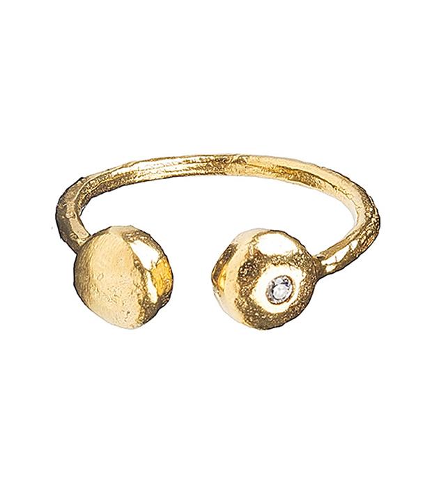 купите чеканное кольцо с белым цирконом Brenda Double от Apodemia
