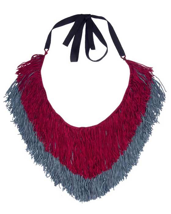 Необычное двухцветное текстильное колье-ожерелье Papiroga купить