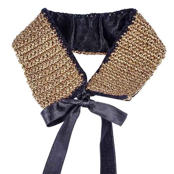 купить Модное текстильное колье-на шею, вышитое золотом фото картинки