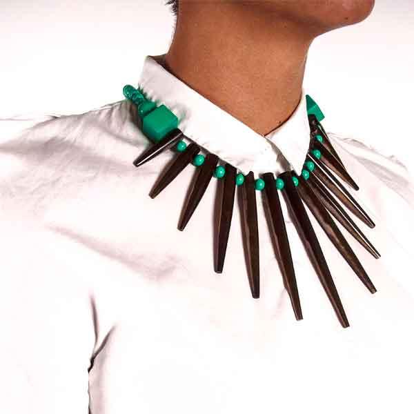 купить модное зеленое ожерелье-колье из металла фото картинки