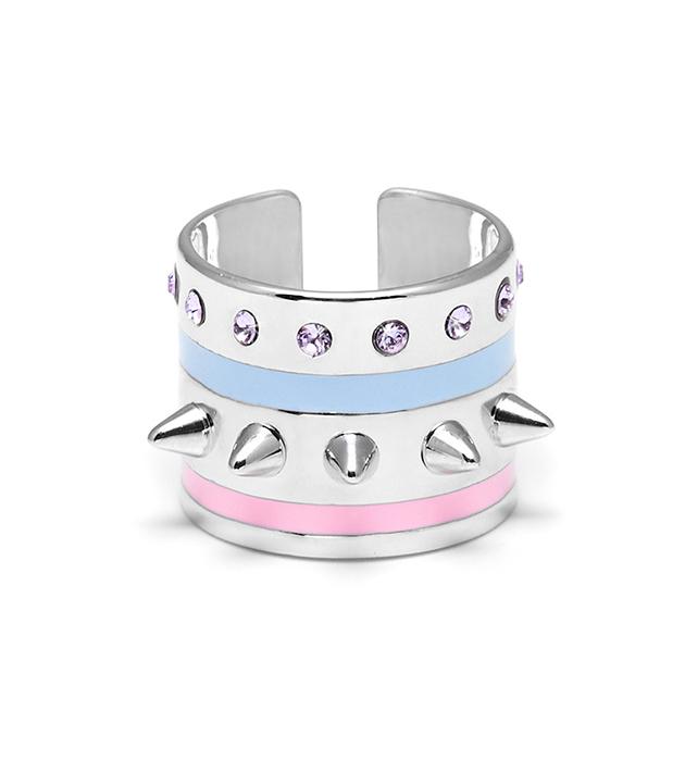 кольцо серебряного цвета с  разноцветной эмалью и кристаллами от Maria Francesca Pepe