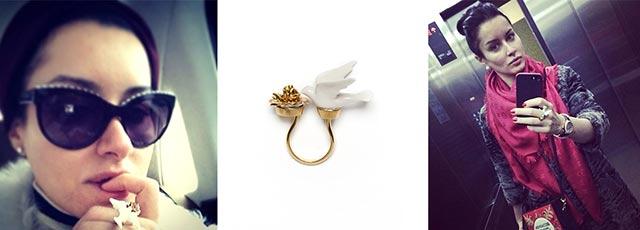 Ведущая Тина Канделаки и её кольцо Flower Dove от ANDRES GALLARDO