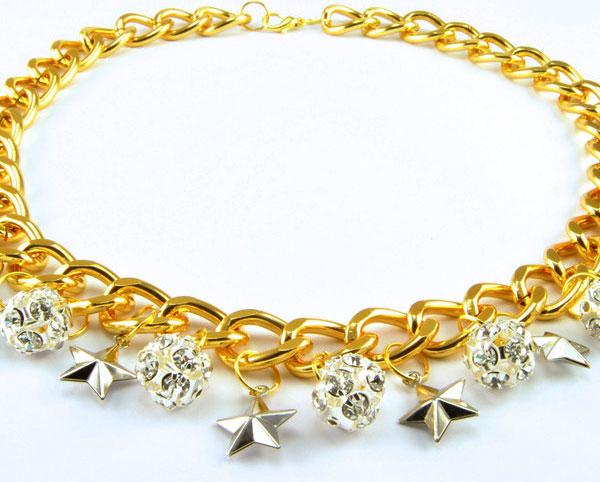 Колье-цепь с серебряными звездами и горным хрусталем