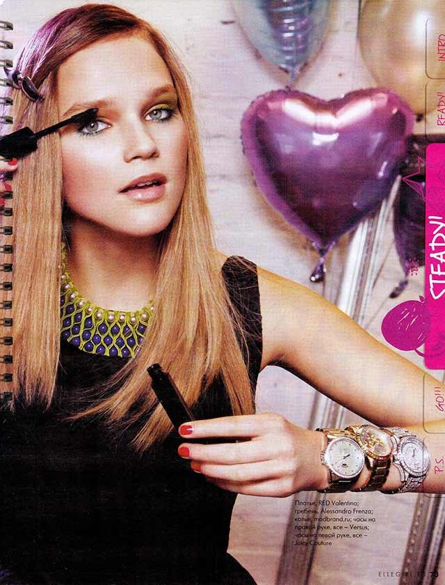 В журнале Elle girl яркое колье из ткани от испанского бренда Papiroga