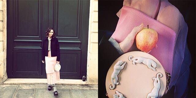 Нино Элиава и её круглая сумочка с фарфоровыми пантерами от ANDRES GALLARDO