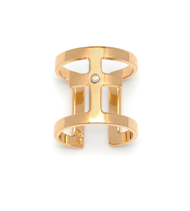 позолоченное кольцо с крестом и кристаллом от Maria Francesca Pepe