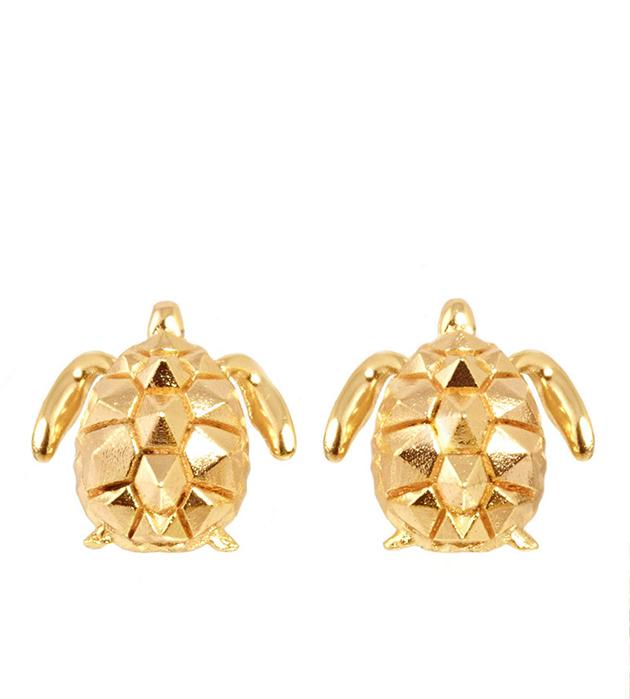 оригинальные серьги в форме черепахи TURTLE ROSE GOLD EARRINGS от Thomas.V