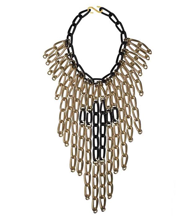 купите эффектное массивное ожерелье золотисто-чёрного цвета от  Sister Sister Project
