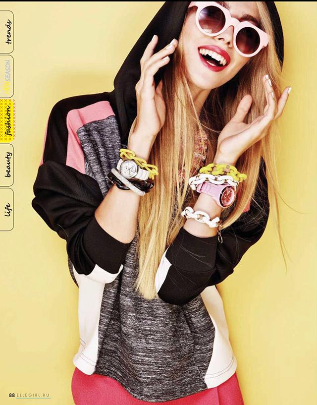 ярко-жёлтый браслет-цепь от Sister Sister Project в Elle Girl сентябрь 2014