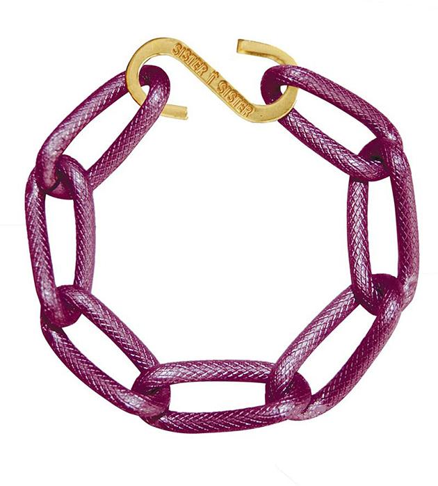 купите браслет-цепь насыщенного цвета фуксия от испанского бренда Sister Sister Project - Techno bracelet