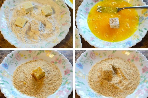 Обвалять тофу в муке