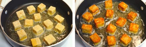 Обжарить тофу на сковороде