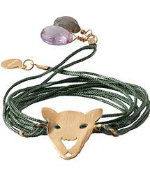 зелёный браслет с головой пантеры от Apodemia