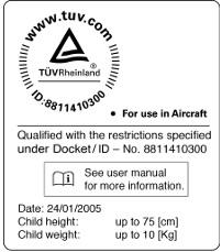 сертификат автокресла Maxi Cosi Citi SPS для перевозки малыша в самолете