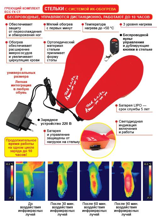 Беспроводные стельки с подогревом с пультом дистанционного управления RedLaika - схема и принцип работы