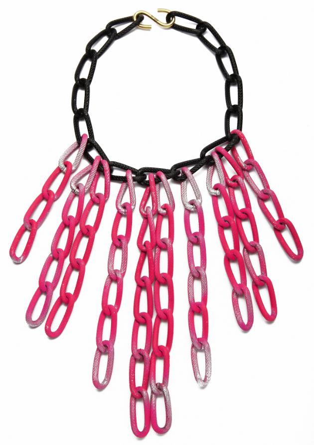 Купите длинное колье-цепь розового цвета от by soif