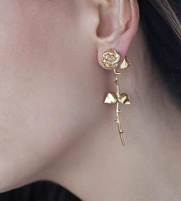 романтичные cерьги цвета розового золота Marina`s Roses Rose Golden от SMITH GREY