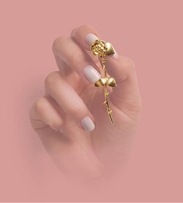 оригинальные серьги в фoрме роз от SMITH GREY - Marina`s Roses Rose Golden earrings