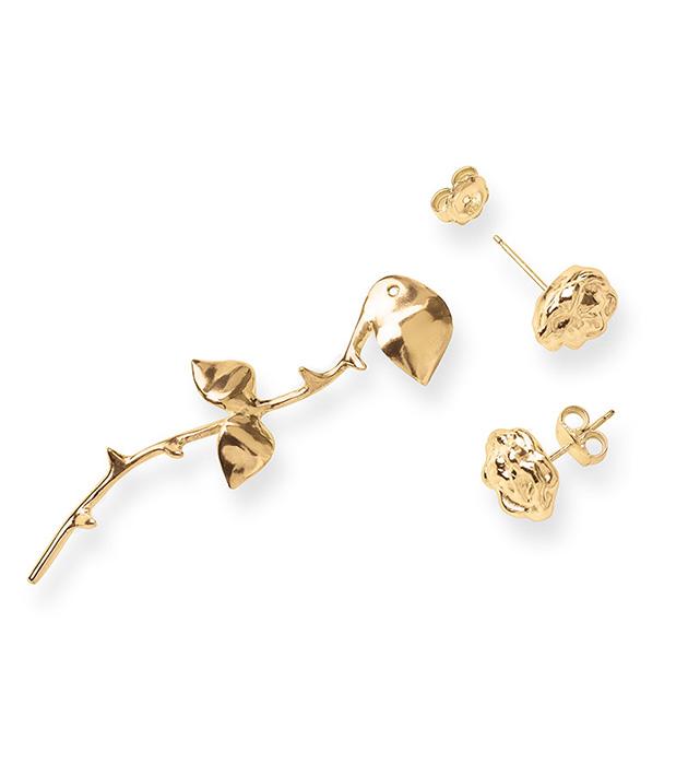 купите креативные серьги-трансформеры Marina`s Roses Rose Golden earrings от SMITH GREY