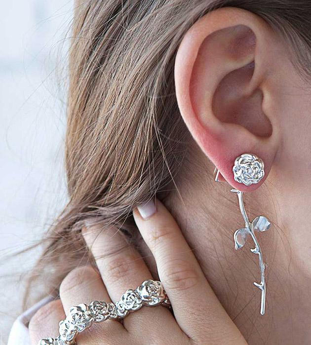 серебряные cерьги Marina`s Roses Silver от английского бренда SMITH GREY