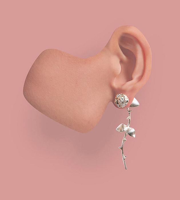 изящные серьги ручной работы Marina`s Roses Silver от SMITH GREY