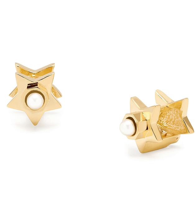 позолоченные серьги-гвоздики  Star c жемчугом от итальянского бренда Maria Francesca Pepe