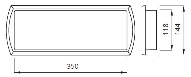 Размеры настенного светодиодного светового указателя выхода Tiger LED Awex
