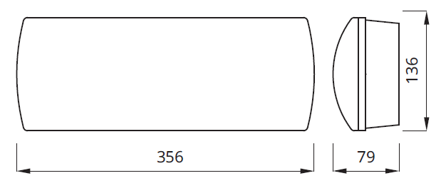 Размеры аварийного эвакуационного указателя выхода IP65/IP42 Helios Awex