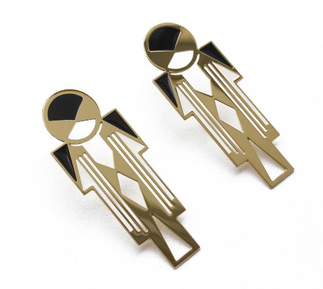 купите золотые серьги с эмалью от Chic Alors-Paris