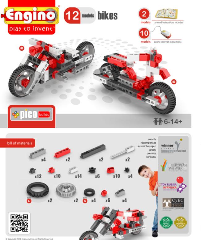 Конструкто Engino Мотоциклы - 12 моделей, серия Пиуо