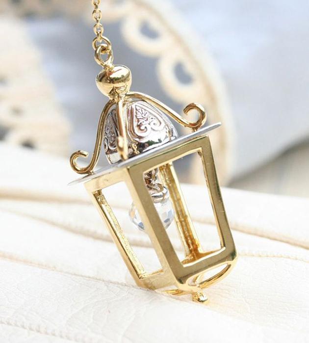 подвеска из позолоченной и посеребрённой латуни от Miss Bibi - Lantern&Light necklace