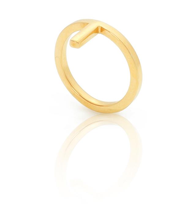 кольцо на фалангу из позолоченного серебра Mini Daisy midi ring от английского бренда SMITHGREY