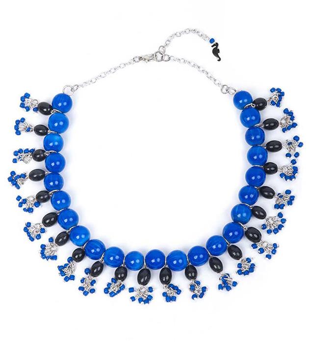 Сине-чёрное колье El Cascanueces на серебристой цепочке от Papiroga