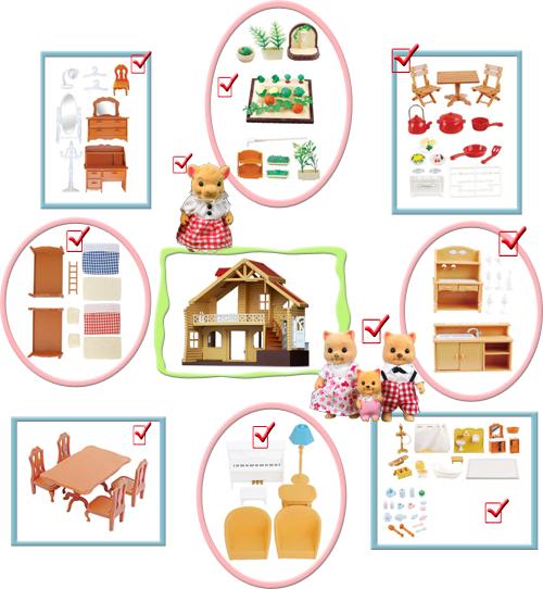 Загородный  домик с полным набором мебели Happy family 012-03, домик с львицей