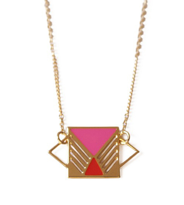 купите украшение в стиле color blocking от Chic Alors Paris - collier Rufus Rose&Rouge