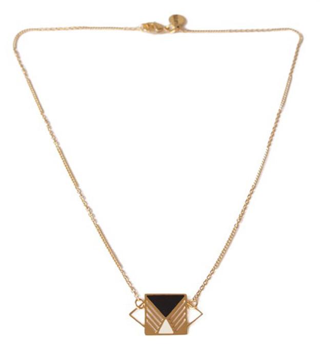 купите подвеска геометричной формы с эмалью Rufus Noir&Ivoire от Chic Alors Paris