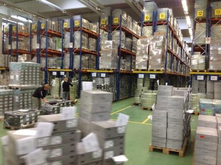 Экскурсия подходит к концу. Мы на складе готовой продукции откуда ботинки будут отправлены заказчикам.