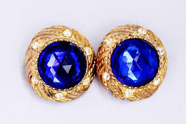 купить золотые клипсы Givenchy с синими кристаллами 80е годы рублей винтажные
