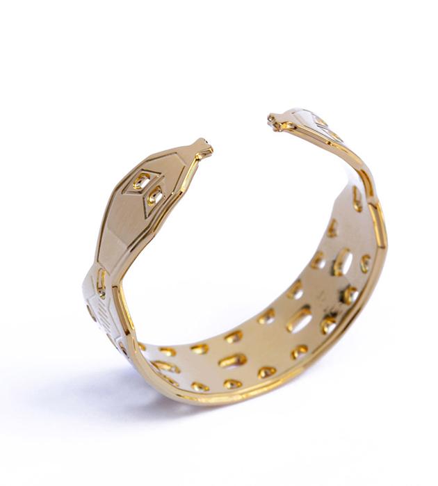 Резное кольцо золотого цвета в виде змеи от Chic Alors Paris - Double Serpent