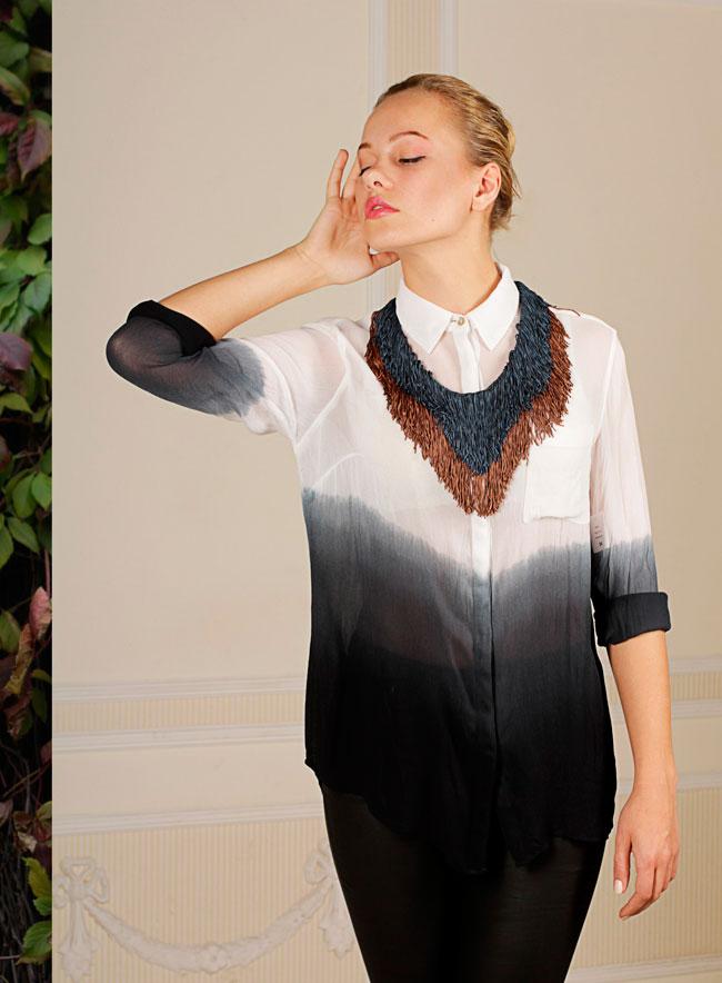 купить массивное текстильное колье-ожерелье на ленте Papiroga фотография