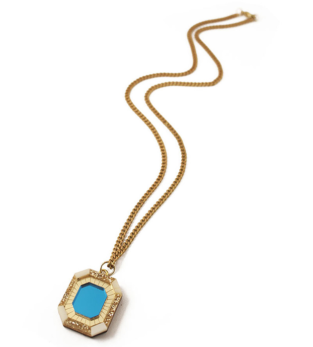 блестящий кулон от английского бренда Wolf&Moon - Jewel Necklace Light Blue&Horn