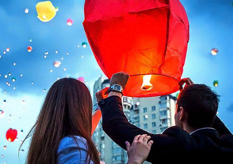"""Небесный фонарик желаний """"Сердце"""" (большой, цвет белый)"""