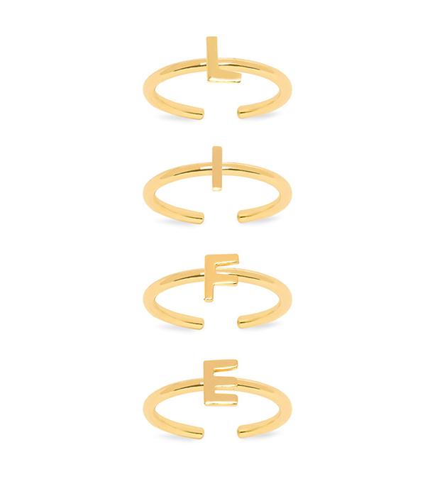 купите сет из 4 изящных колец на фалангу золотистогo цвета от Maria Francesca Pepe - Life Nail ring set