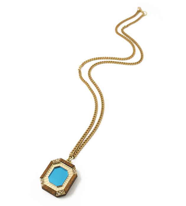 золотисто-голубая подвеска из дерева и плексигласа от английского бренда Wolf&Moon - Jewel Necklace Light Blue&Wood