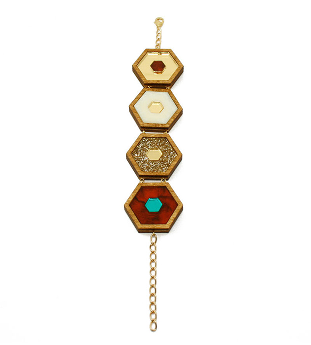 браслет ручной работы Honeycomb Gold Glitter от английского бренда Wolf&Moon