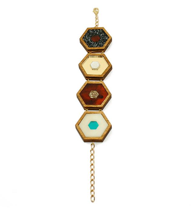 браслет ручной работы Honeycomb Black Glitter от английского бренда Wolf&Moon