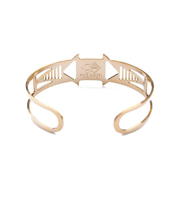 позолоченный браслет с эмалью Louxor noir от Chic Alors-Paris