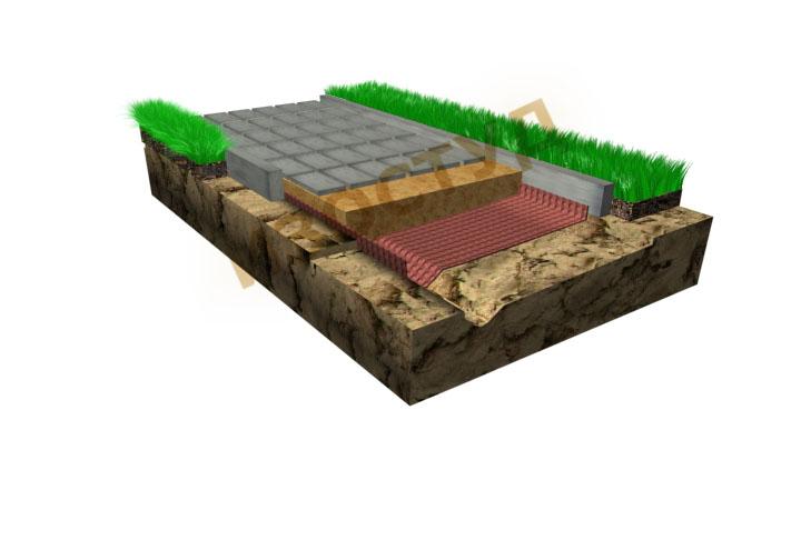 Изостуд используется как  разделительный слой под дорожную плитку